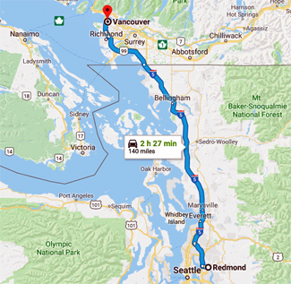 Map of route from Redmond to Vancouver