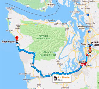 Map of route to Ruby Beach, Washington