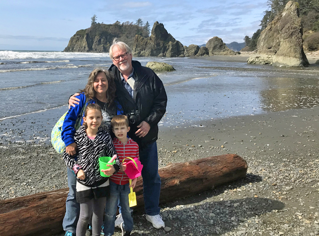 CIndy and I with Jade and Maxwell on Ruby Beach.