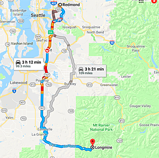 Map of route from Redmond to Mt. Rainier