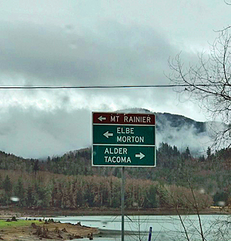Sign pointing to Mt. Rainier