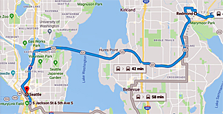 Map of bus route from Redmond to Underground Seattle