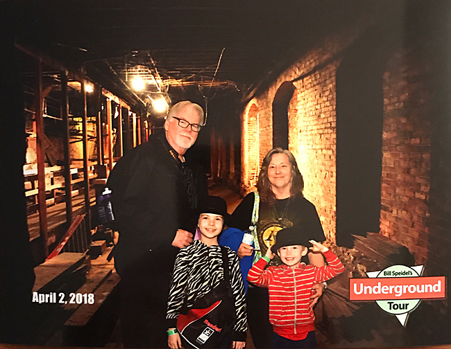 Granddad, Grandma, Jade, and Maxwell in Underground Seattle on April 3, 2018.