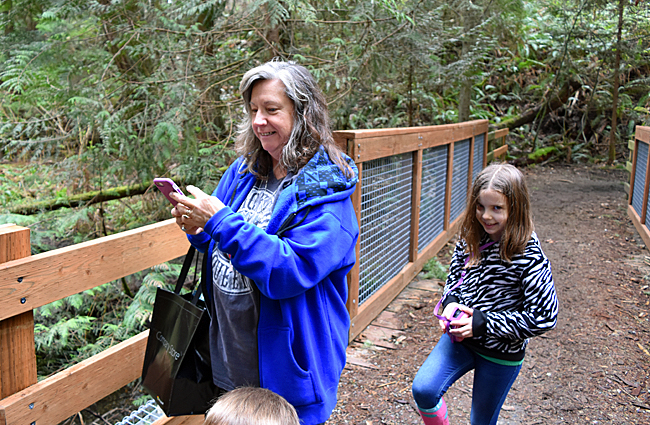 Grandma and Jade on the nature trail at http://www.redmond.gov/ParksRecreation/Farrel-McWhirterFarmPark