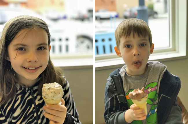 Jade and Maxwell enjoying their ice cream from Molly Moon's after our visit to http://www.mollymoon.com/