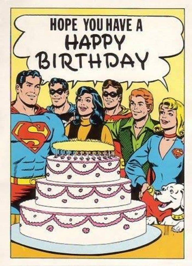 Fellow superheroes wishing Superman a Happy Birthday
