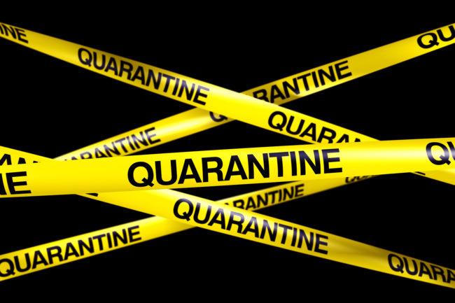 Quarantine tape spread out